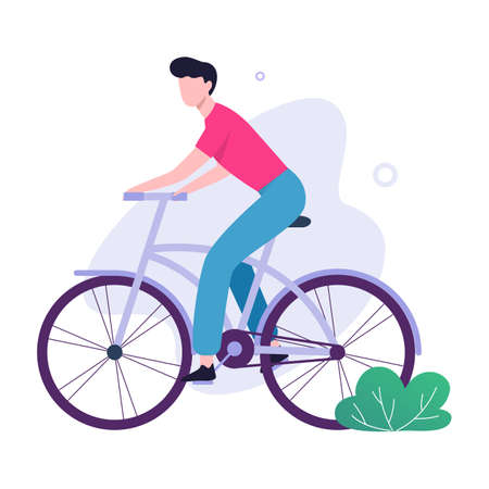 Happy young man ride bicycle. Healthy and active