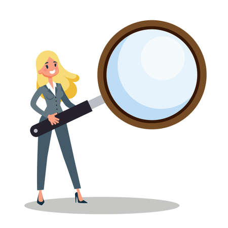 Businesswoman holding a big magnifier glass. Idea of search