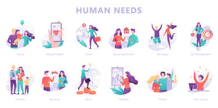 Human needs set. Personal development and self-esteem  イラスト・ベクター素材