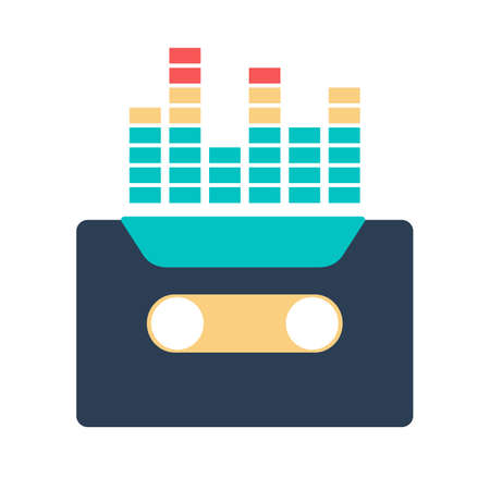 Audio tape icon. Music equipment, old recorder. Vintage