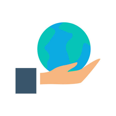Hand holding globe icon. Idea of planet care and ecology protection. Environmental conservation. Isolated vector illustration in flat style Ilustracja