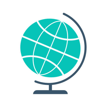 Globe icon. Idea of geography, sphere world map