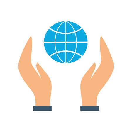 Hand holding globe icon. Idea of planet care and ecology protection. Environmental conservation. Isolated vector illustration in flat style  イラスト・ベクター素材