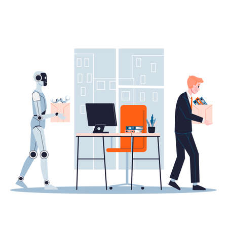 Robot replace the human in office. Idea of artificial intelligence