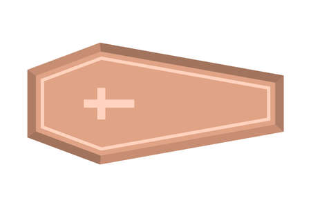 Coffin icon. Halloween symbol, wooden horror death element. Spooky holiday. Isolated flat vector illustration