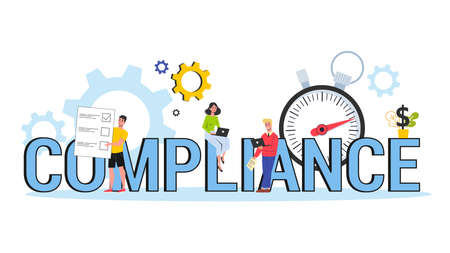 Compliance concept. Idea of business agreement and law regulation. Document management. Vector illustration in cartoon style