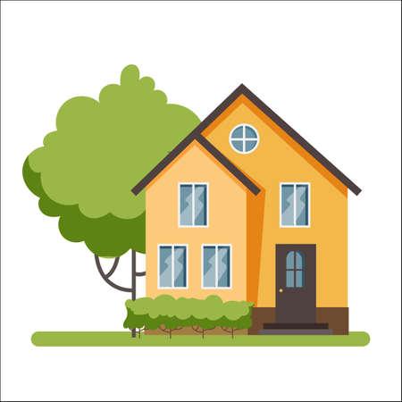 Wooden cottage, modern architecture. Stock Illustratie