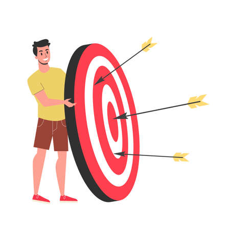 Man standing at the target. Idea of goal