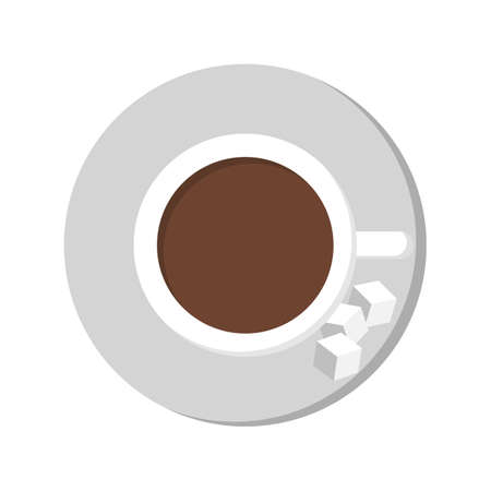 Coffe cup top view icon. Brown drink, morning beverage with sugar.