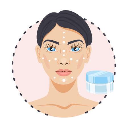 Femme appliquant la crème sur le visage. Soin de la peau