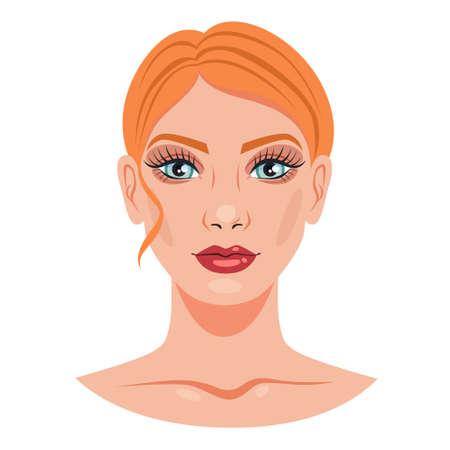 Woman portrait. Female character face with makeup Illusztráció