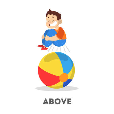 Kid and ball. Learning preposition concept. The boy