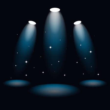 Spotlight on the stage scene. Illuminated spot from the light beam. Vector illustration in cartoon style