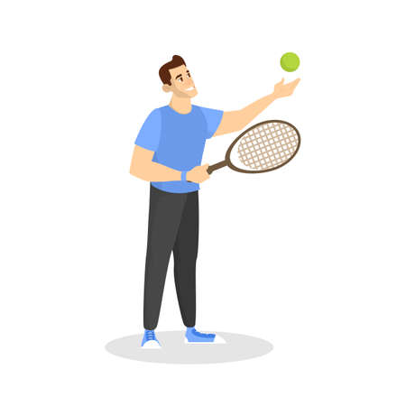 Happy man playing badminton. Player on court