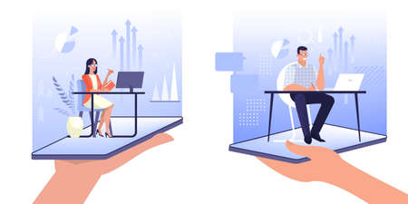 Online exepert concept. Assistant sitting at the desk. Idea of help and support. Hotline, client service. Isolated vector illustration in cartoon style Stock Illustratie