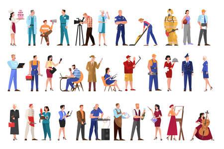 Conjunto de profesión. Colección de ocupación, trabajadora y trabajadora en uniforme. Médico, ingeniero, bombero y docente. Ilustración de vector aislado en estilo de dibujos animados