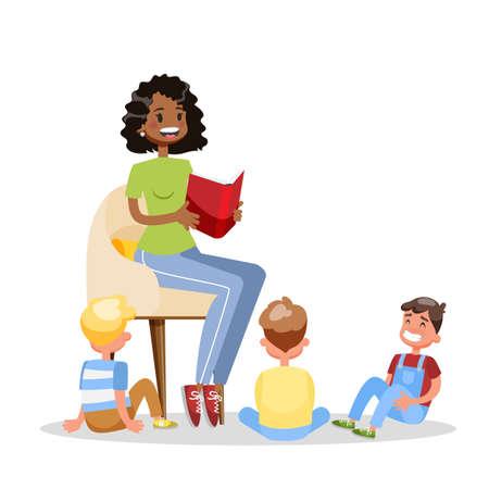 La mujer leyó el libro para el grupo de los niños. Los niños escuchan un cuento de hadas. Voluntario adulto. Ilustración de dibujos animados de vector aislado