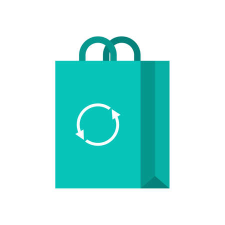 Green shopping bag icon. Idea of purchase and reuse
