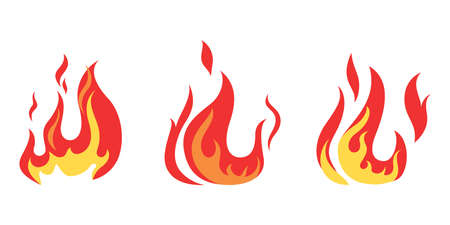 Set of red and orange fire flame. Иллюстрация