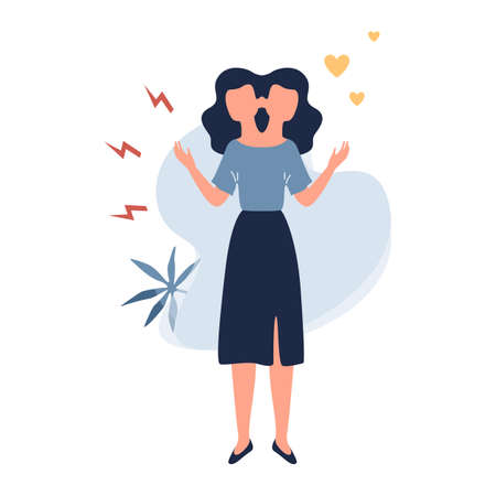 Woman with bipolar disorder. Sad and happy girl. Psychotherapy concept. Flat vector illustration Ilustração