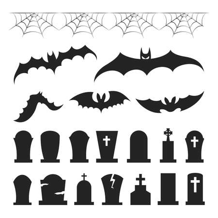 Black halloween icon set. Collection of grave and bat 向量圖像