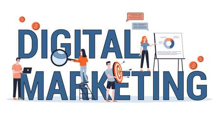Digital marketing concept banner. Social network, media 일러스트