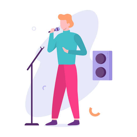 Man standing at microphone on stage and sing Illustration