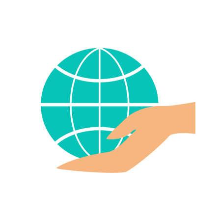 Hand holding globe icon. Idea of planet care Stock Illustratie