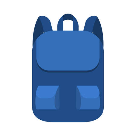 School bag. Blue backpack or rucksack. Student sack