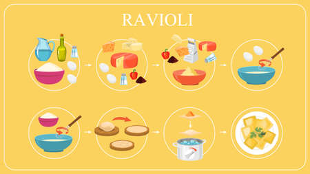Ravioli recipe for cooking at home. Homemade dough for tasty