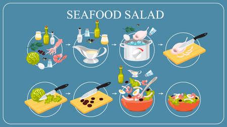 Tasty seafood salad recipe. Cooking at home Çizim