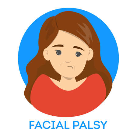 Facial palsy. Female character with asymmetrical face Stock Illustratie
