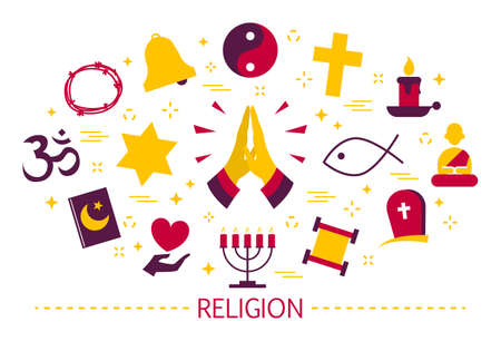 Religion icon set. Cross and jewish star, islam and buddhism.