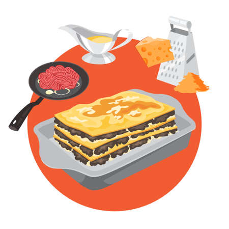 Delicious lasagna recipe for cooking at home. Italian delicious food. Cheese meal for dinner or lunch. Vector illustration in flat style