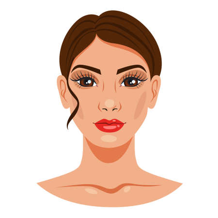 Woman portrait. Female character face with makeup. Young adult, beautiful lady. Fashion model. Isolated vector illustration in cartoon style