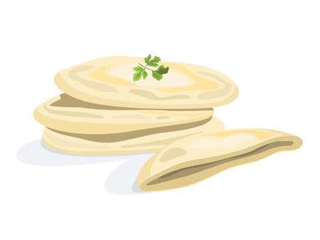Pita bread. Tasty food, delicious handmade meal. Fresh tortilla.