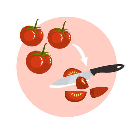 Cutting red tomato using a knife. Vegetable food, fresh