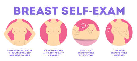 Woman doing breast self exam. Cancer awareness