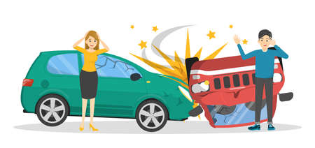 Car accident. Broken automobile on the road, emergency situation. People in panic looking at the broken auto. Isolated vector illustration in cartoon style Banque d'images - 129310602