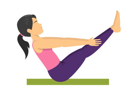 Woman in the yoga boat pose. Exercise for health
