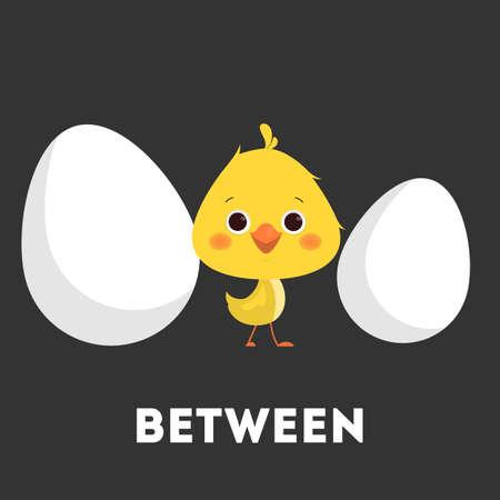 Ensemble de poulet et d'oeufs. Apprendre la préposition avec l'oiseau