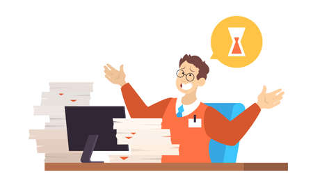 Deadline concept. Idea of many work and few time. Panic and stress in office. Business problems. Vector illustration in cartoon style