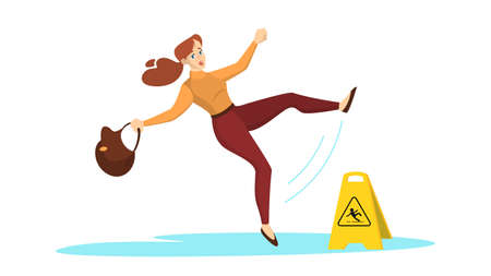 Woman falling on the wet floor. Caution sign, warning Иллюстрация