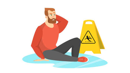 Man falling on the wet floor. Caution sign, warning