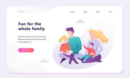 Family web banner concept design. Happy parent Banque d'images - 129656016