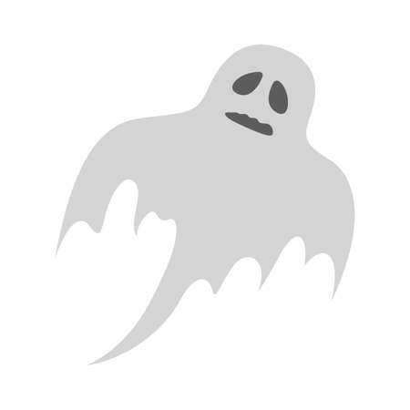 Ghost character. Spooky halloween silhouette. Horror costume