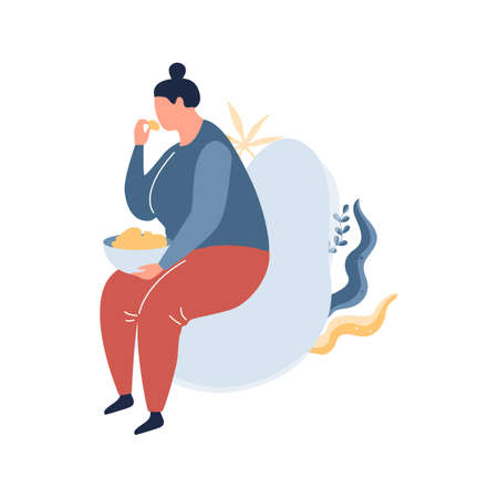 Fat woman sitting in the armchair and eating food. Overweight girl