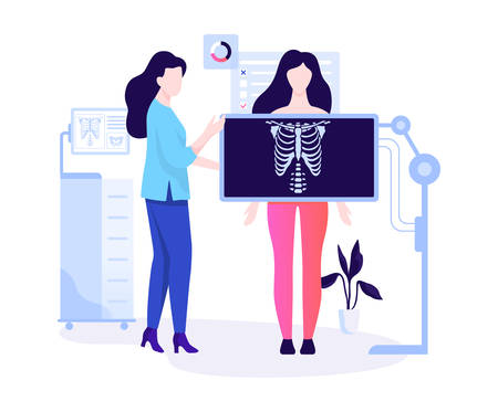 Woman standing behind the x-ray and make examination Illustration