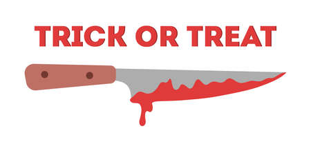 Happy halloween web banner design. Knife in a blood, murder Иллюстрация