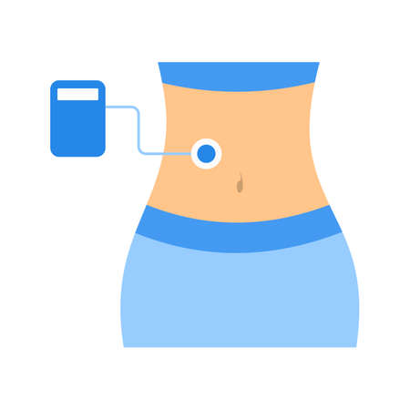 Ultrasound scanner system icon. Belly check and health treatment.